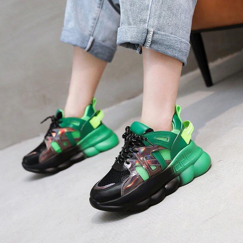 Designers Women Platform Sneakers Ulzzang Fashion Green Lace Up Vulcanized Shoes Sports Woman Casual Old Dad Shoes 6cm