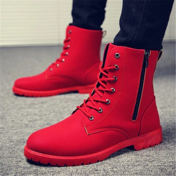 2019 Men Boots British Red High Top Mens Army Boots Korean Zipper Men's Snow Winter Boots Cowboy Boots for Men BLACK size 39-44