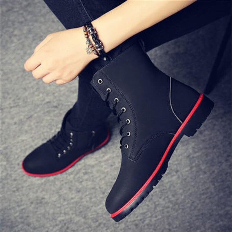 2019 Men Boots British Red High Top Mens Army Boots Korean Zipper Men's Snow Winter Boots Cowboy Boots for Men BLACK size 39-44