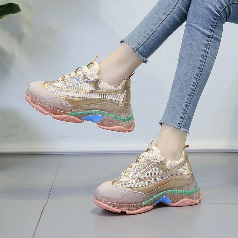 Chunky Sneakers Women Summer Vulcanize Female Fashion Sneakers Lace Basket Femme Dad Platform Breathable Mesh Sneakers for Women