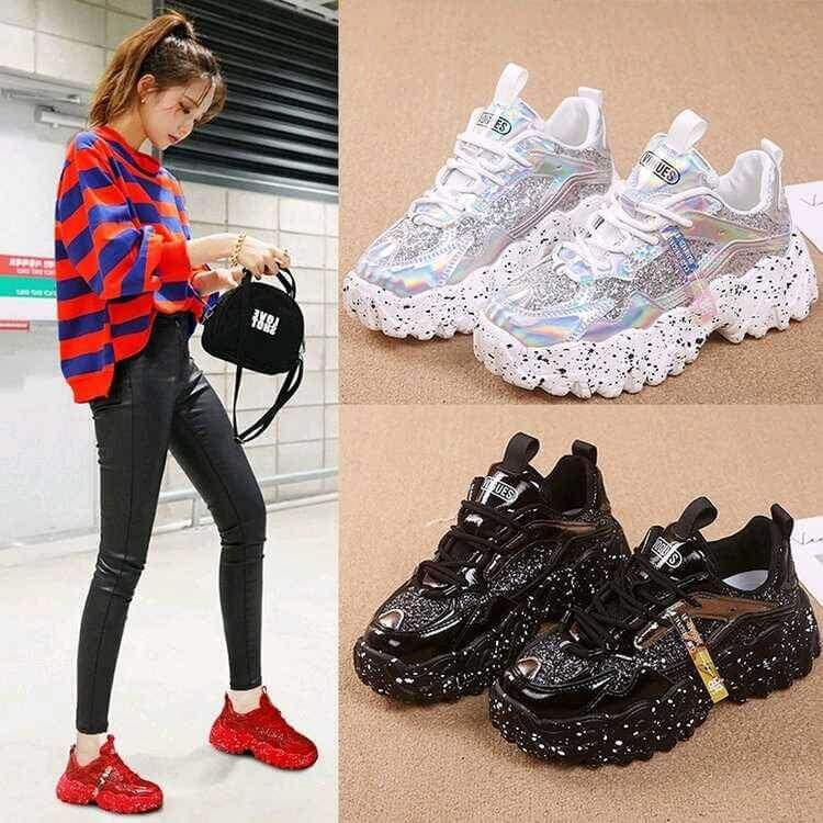 Sneakers Women Spring 2020 Sequined Cloth Bling Breathable Round Toe Leisure Chunky Women Shoes Tenis Feminino Zapatos De Mujer