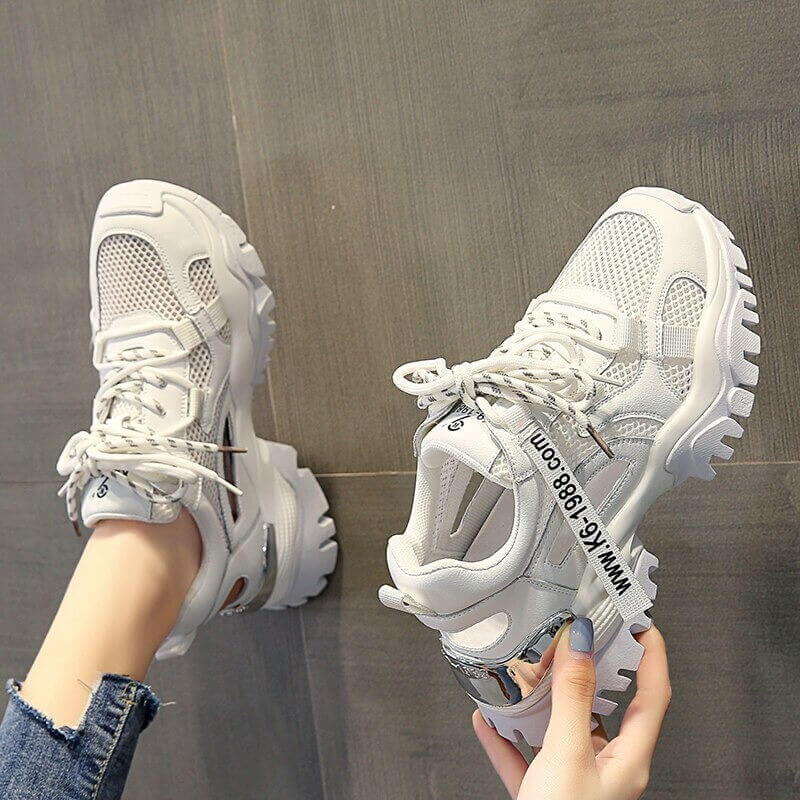 Hollow Summer Sneakers Women Fashion Casual Shoes Genuine Leather Platform Chunky Sneakers Ladies Lace-Up Women Shoes Wedges