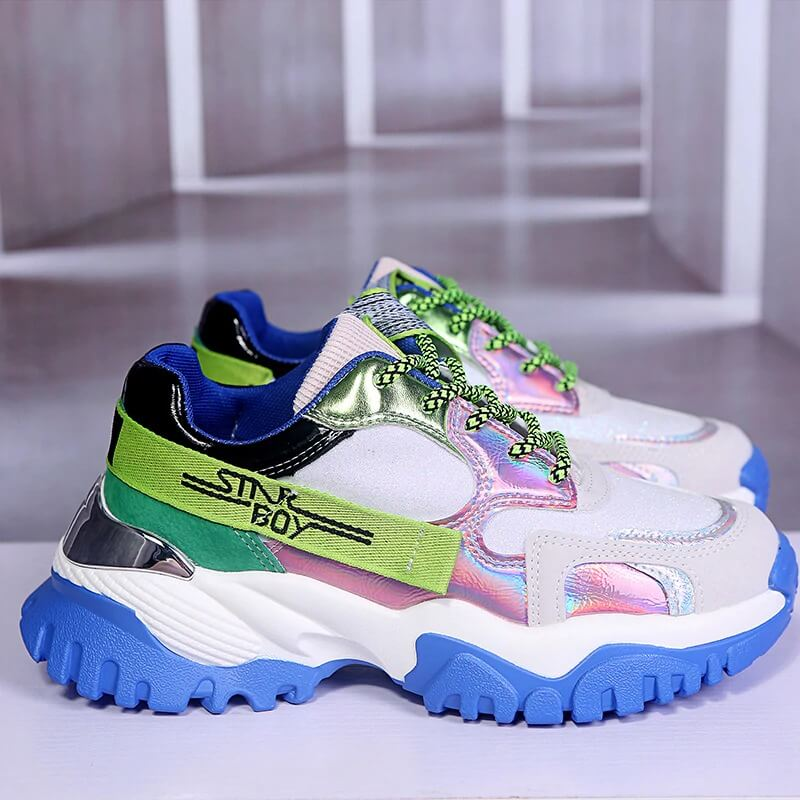 Women Fashion Chunky Sneakers Platform Summer Designers Mixed Colors Vulcanized Shoes Woman Sports Casual Shoes Tennis Female
