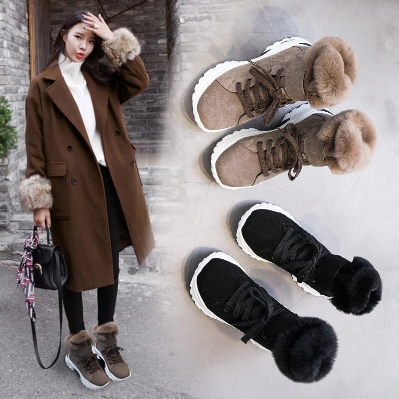Koovan Women's Boots 2020 New Winter Snow Short Boots For Girls Female Genuine Leather Short Matte Plus Velvet Cotton Shoes 40