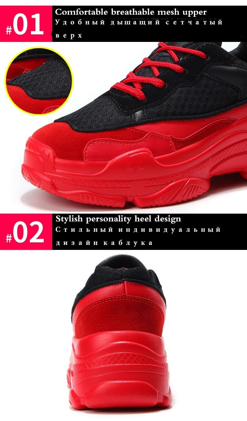 Fashion Sneakers Women Red Shoes 2020 Spring Autumn Breathable Mesh Women Sneakers Zapatos De Mujer Chunky Ladies Shoes