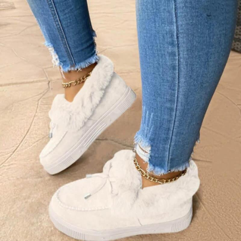 Winter Autumn Women's Casual Fur Shoes Cute Bowknot 2021 Trend Fluffy Furry Slip-on Sneakers Ladies Plush Loafers Flats Platform