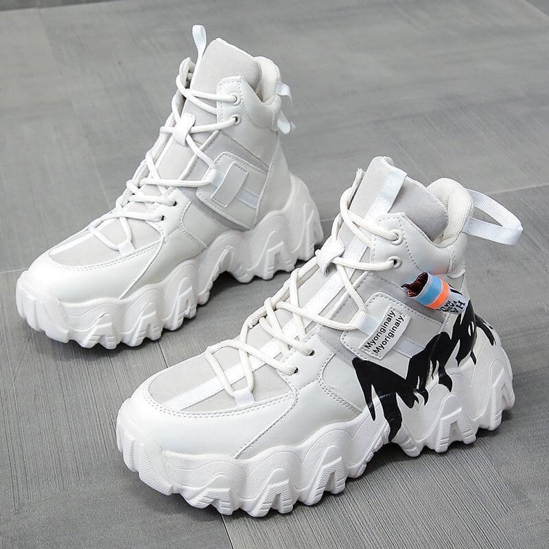 High Top Chunky Sneakers Women Designer Platform Shoes Female Basket Femme Sapatos Winter Thick Bottom Lady Trainers Women Shoes