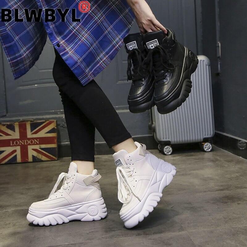 Ulzzang shoe Women Casual, Woman Sneakers Platform Wedges High Heels