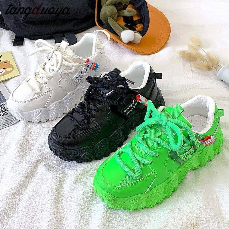 Platform Women Sneakers white Green running Shoes 2020 Women Thick Sole Tennis Chunky Shoes Basket Femme women sports shoes