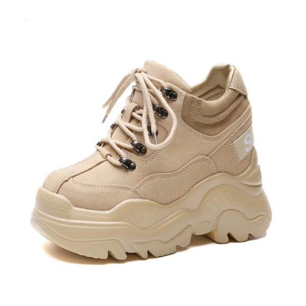 Nevada High Heel Women Thick Sole Shoe Leather Wedge Sneaker Waterproof Breathable Casual Shoes