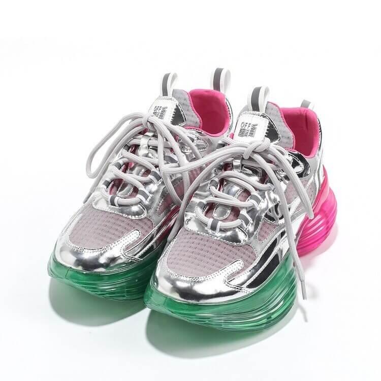 Women Nevada Sneaker Metallic Leather Shoe Height Increasing
