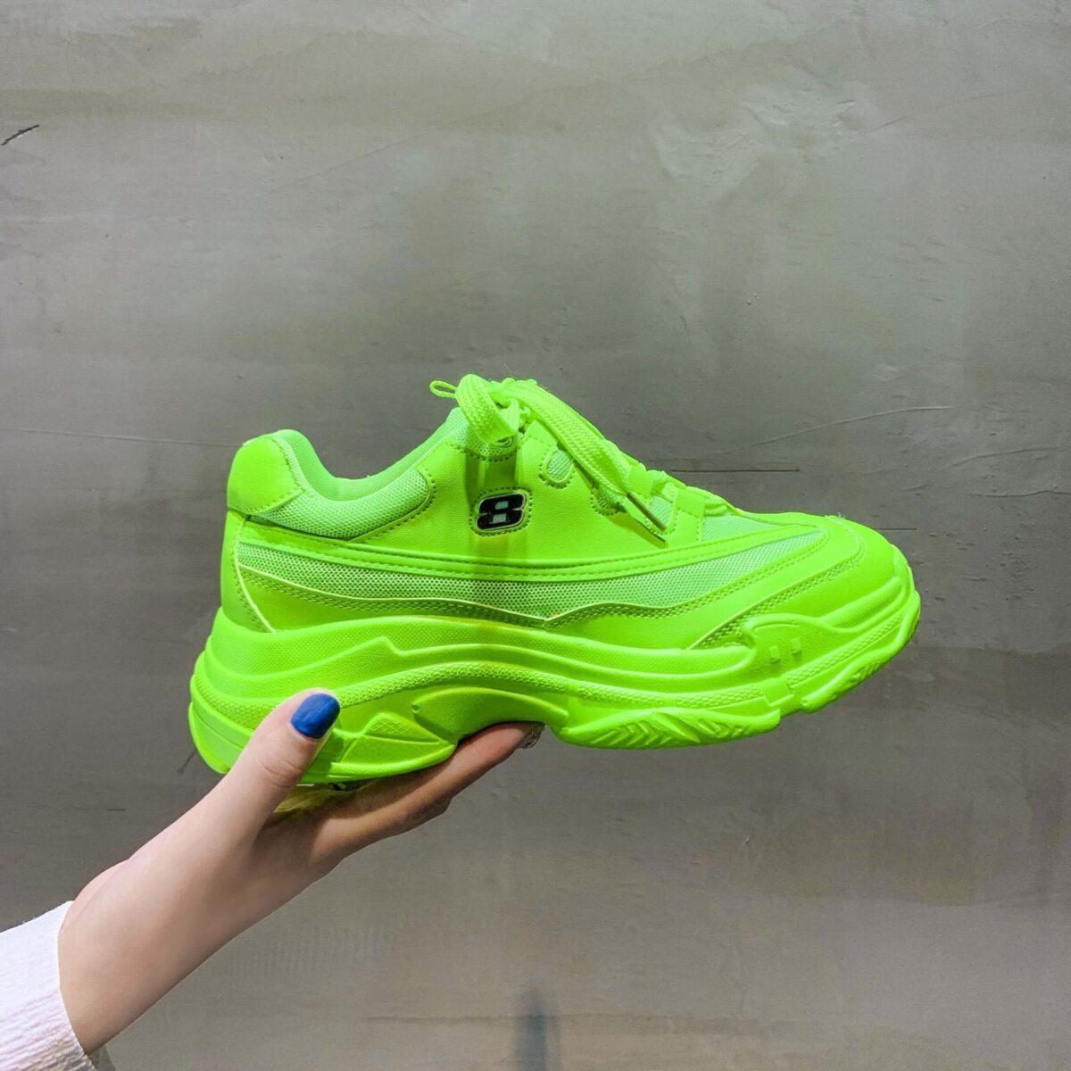 Women nevada Sneaker Platform Casual Shoe Yellow Lace-Up Casual Chunky