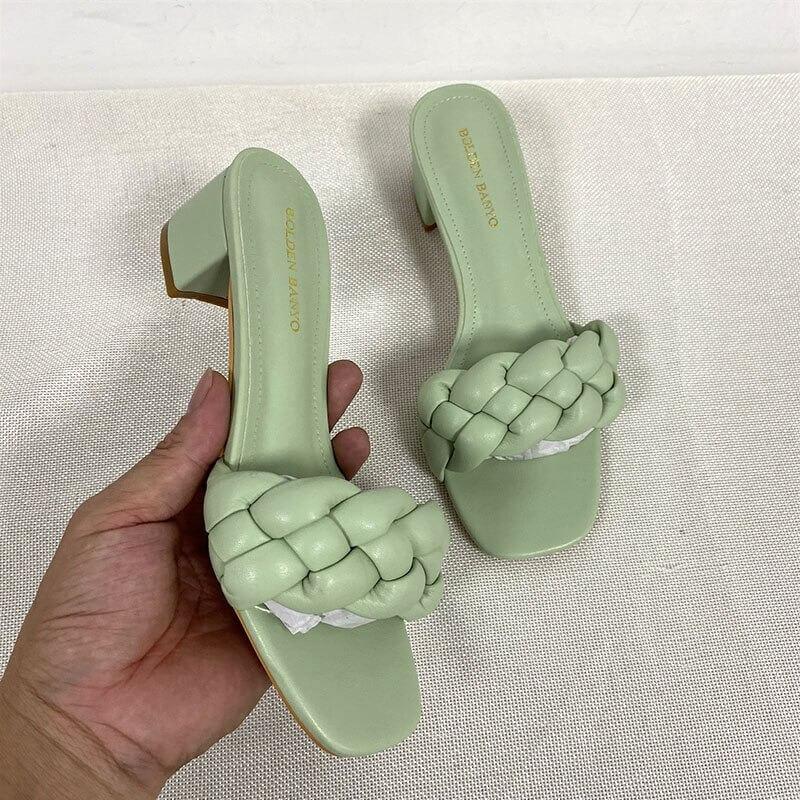 women Nevada low heel sandal summer Shoes Weave Open Toe