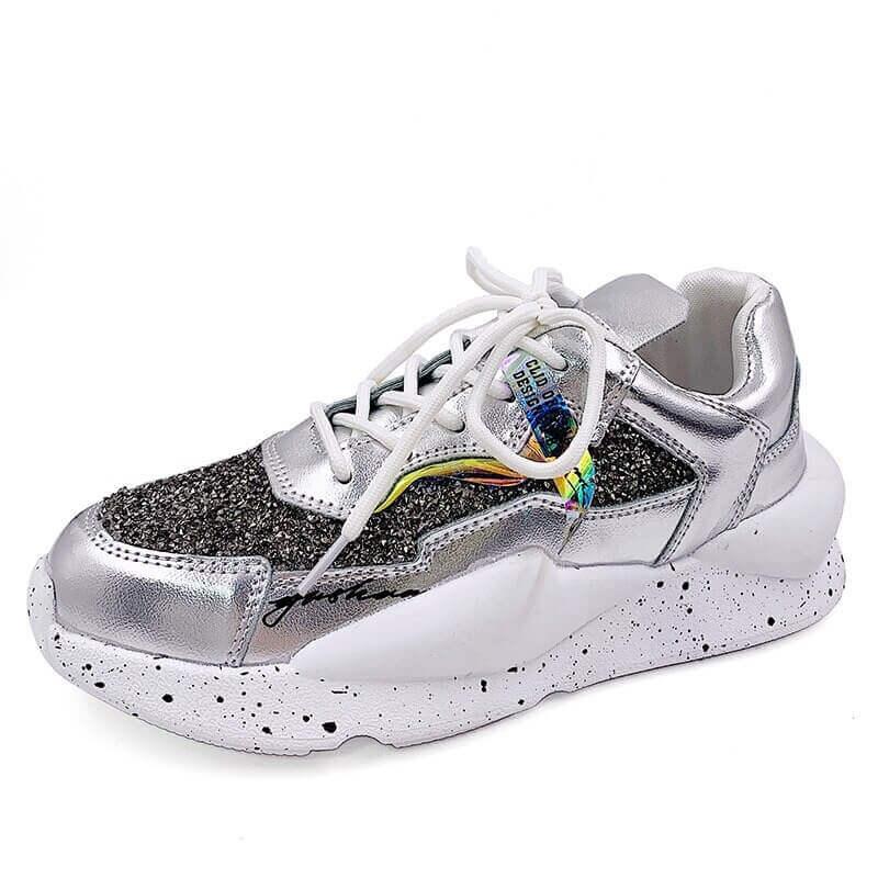 Women Nevada Rhinestone Sneaker Fashion Casual Chunky Shoe. Black Zapatos De Mujer