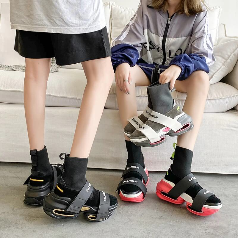 ADBOOV 202 New Fashion High Top Sock Sneakers Women Thick Sole Platform Casual Shoes Ladies Genuine Leather Slip On Sock Boots F