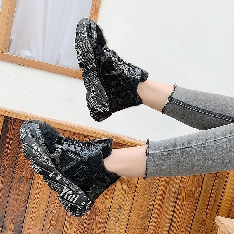 Furry Chunky Sneakers Women Graffiti Sole Winter Shoes