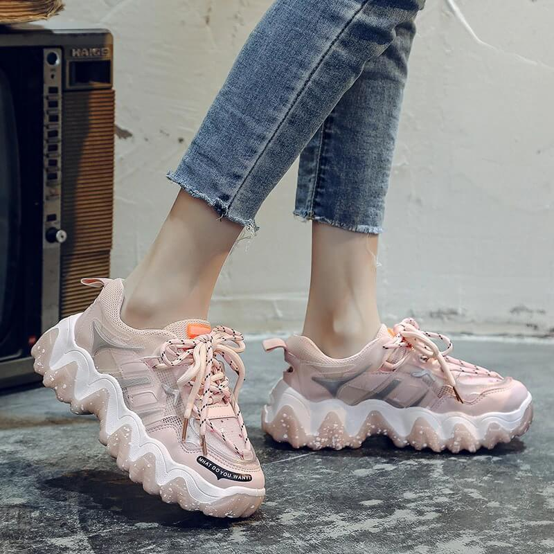 Fashion Chunky Sneakers Women Plus Size 41 42 Thick Sole Casual Shoes Ladies