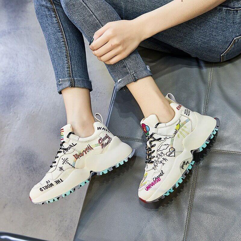 women Nevada Genuine Leather Chunky Sneakers Graffiti Fashion Platform Casual Shoes Ladies