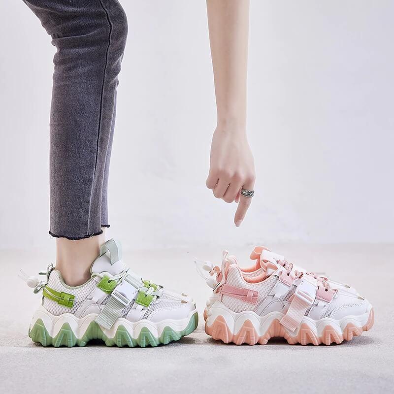 Women Nevada Breathable Summer Chunky, Shoe Woman Buckle Fashion Casual Sneakers Women