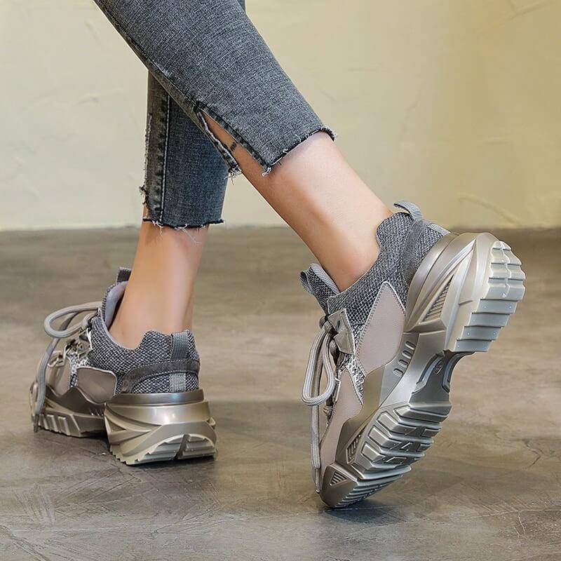 Nevada Gne Leather Chunky Sneaker, Women Cross-tie Fashion Casual Shoes Footwear