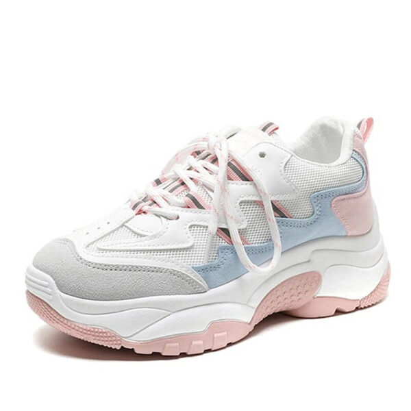 Women nevada Suede Leather Mesh Platform Chunky Sneaker.