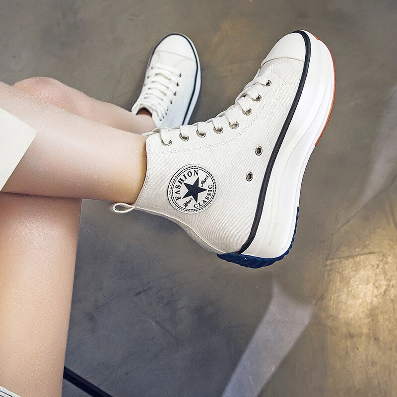Canvas Shoes Women Trainers Women High Top Sneaker Lady Autumn Female Footwear Breathable Girl White Black Sneakers QW-62