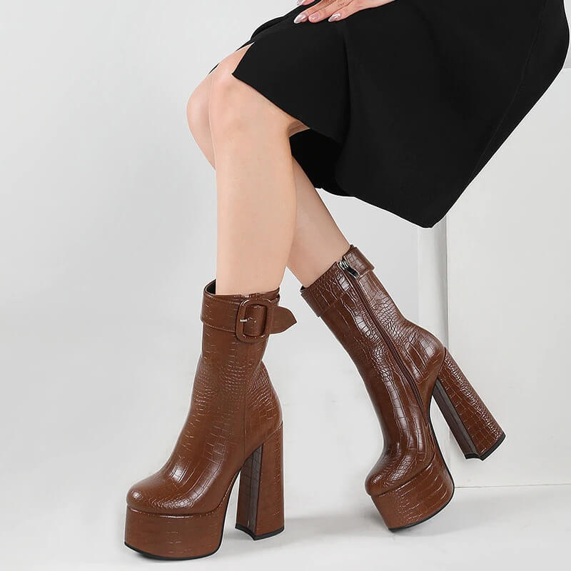 European Style High Heel Platform Boots Women Sexy Party Shoes Round Toe Buckle Autumn Winter Ankle Boots Women
