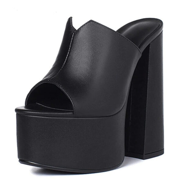 genuine leather sandals women fashion brand thick high heel party Night Club Shoes