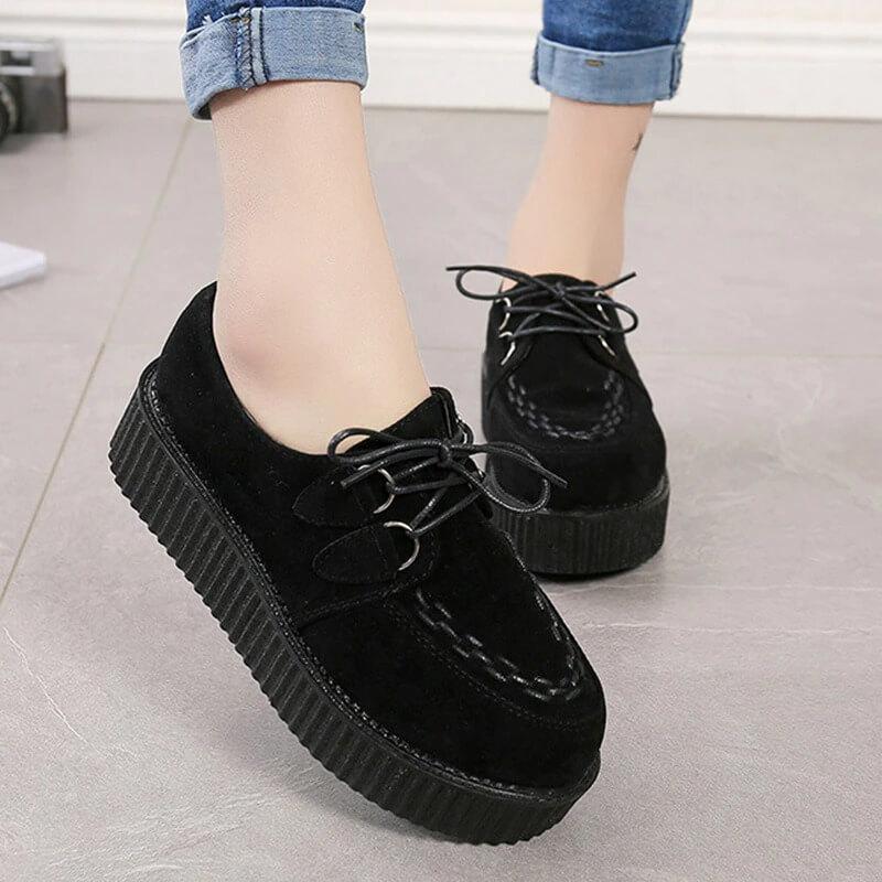 Creeper 2020 Women Flats Lace Up Platform Shoes Autumn Women Shoes Suede Ladies Shoes Plus Size 41 Female Shoes Free Shipping