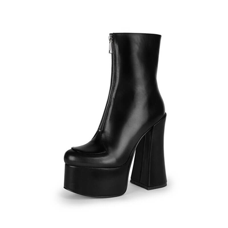 short boots women Thick Bottom Solid color Front zipper round toe party shoes Autumn