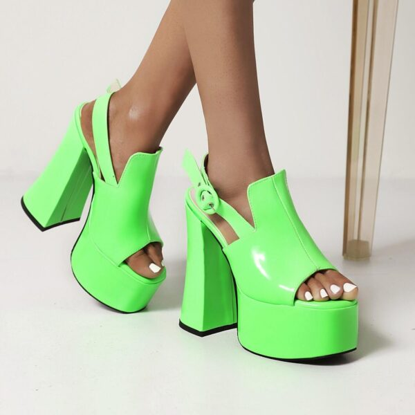 Super High Thick Heel Patent Leather Fish Mouth Summer Sandals Super High Waterproof Platform Bright Leather Catwalk Sandals