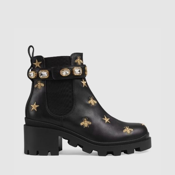 Luxury Embroidered leather ankle boot with belt