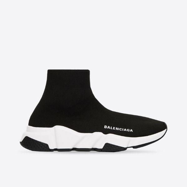Luxury women's speed recycled sneaker in black-white