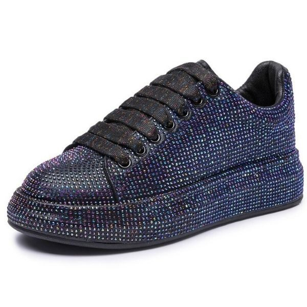 Women's Sneakers Flat Rhinestone Shiny, Ladies Shoes Laces Casual Women's Vulcanized Shoes